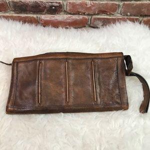 Boho leather clutch bag